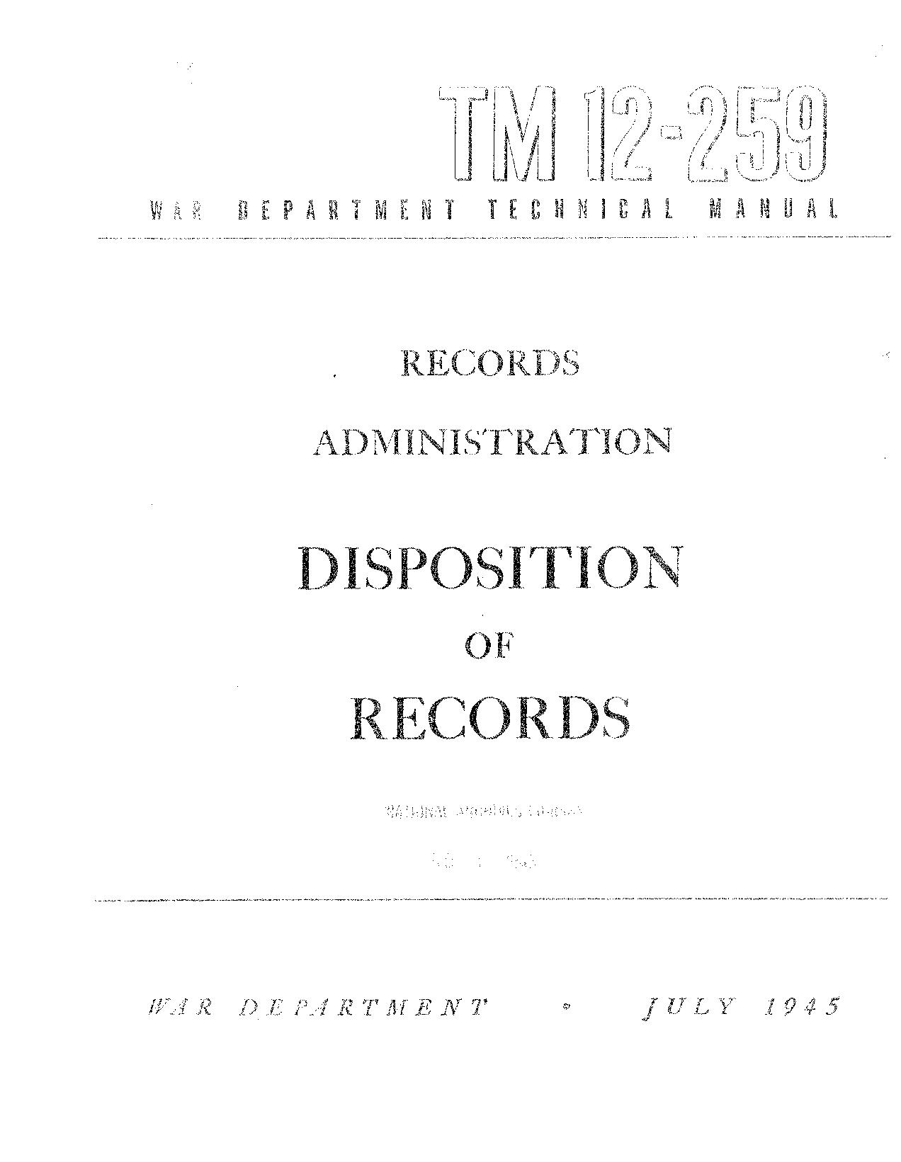 United States. War Department - TM 12-259 Disposition of Records