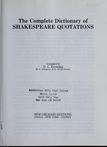 Download The complete dictionary of Shakespeare quotations