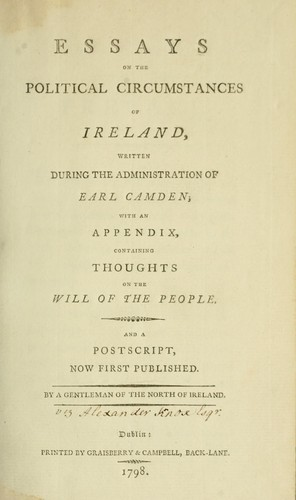 Essays on the political circumstances of Ireland