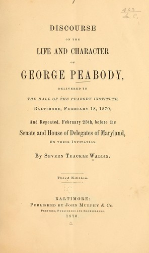 Download Discourse on the life and character of George Peabody