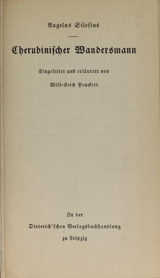 Cherubinischer Wandersmann by Angelus Silesius