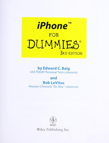 iPhone for dummies by Edward C. Baig